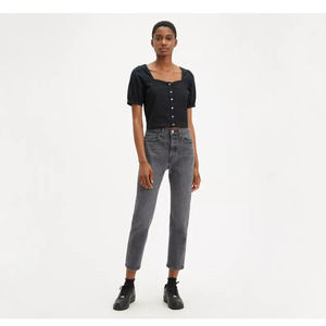 Levis Black Wash High Rise Cropped straight leg Jeans Size 32